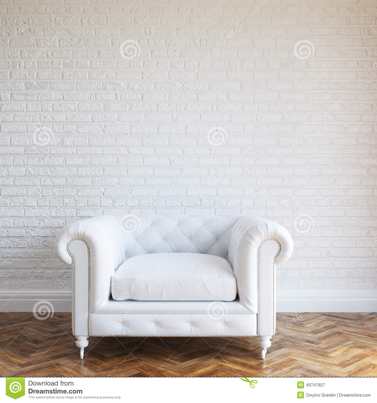 White Walls Brick Interior With Classic Leather Armchair