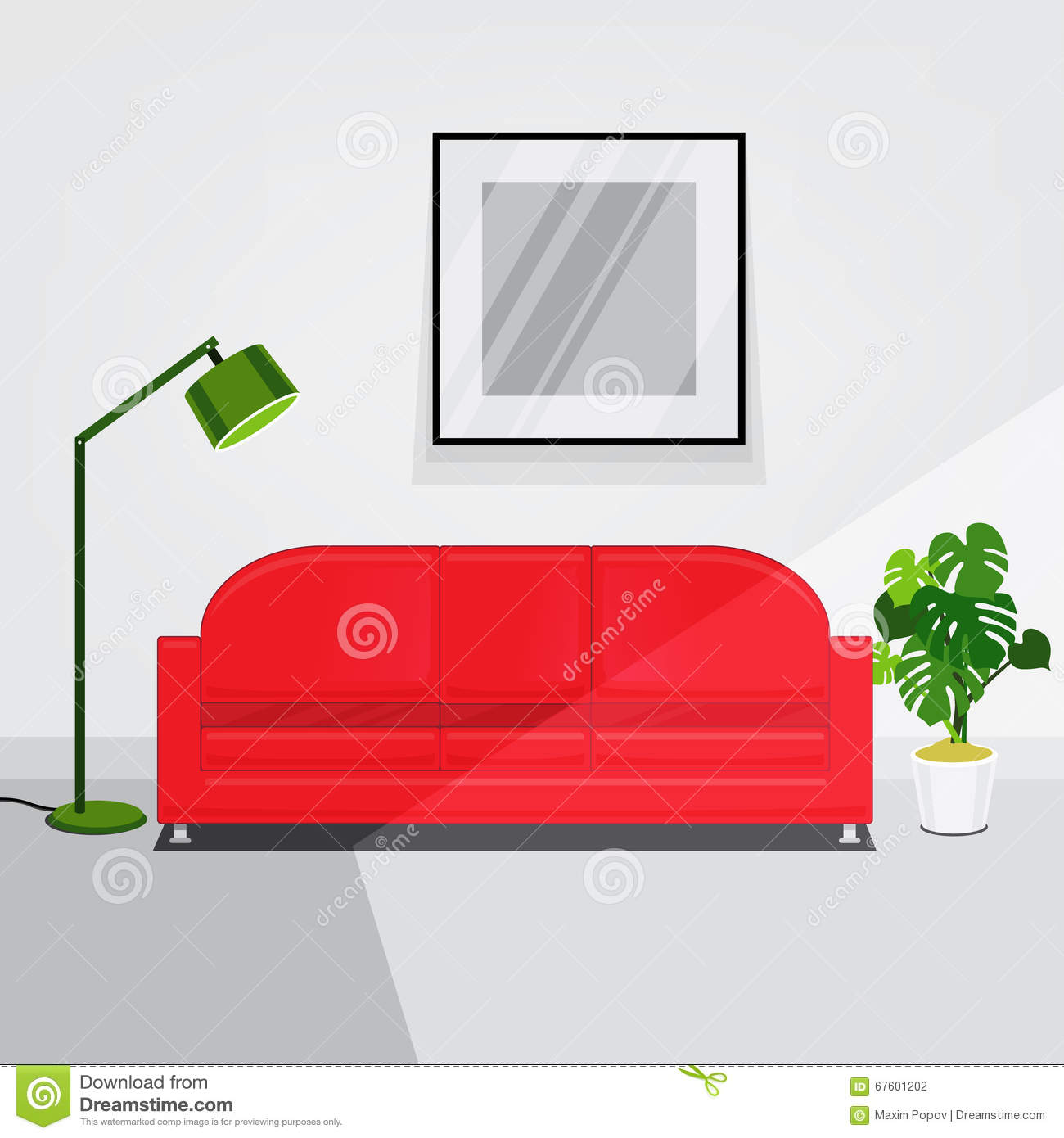 White Walls Living Room Interior With Red Sofa Stock Vector