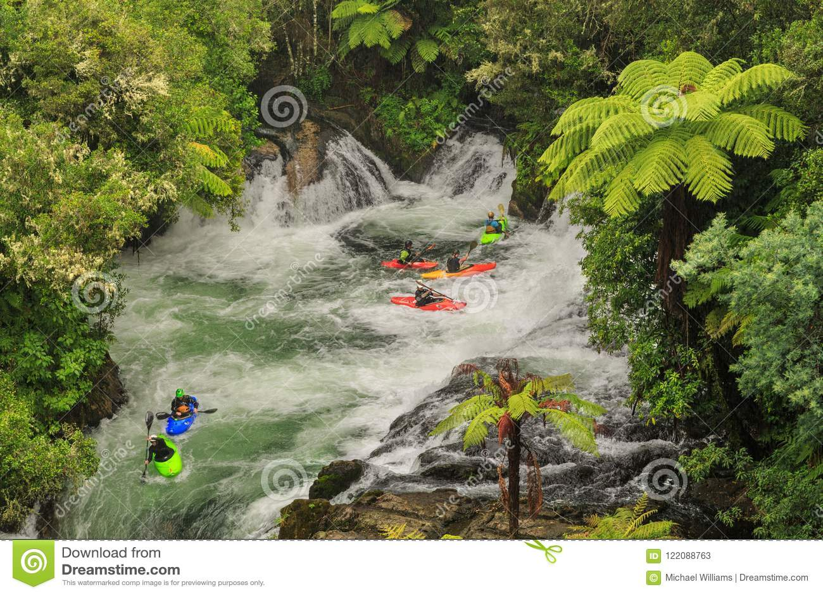 White water kayaking in Okere Falls, New Zealand