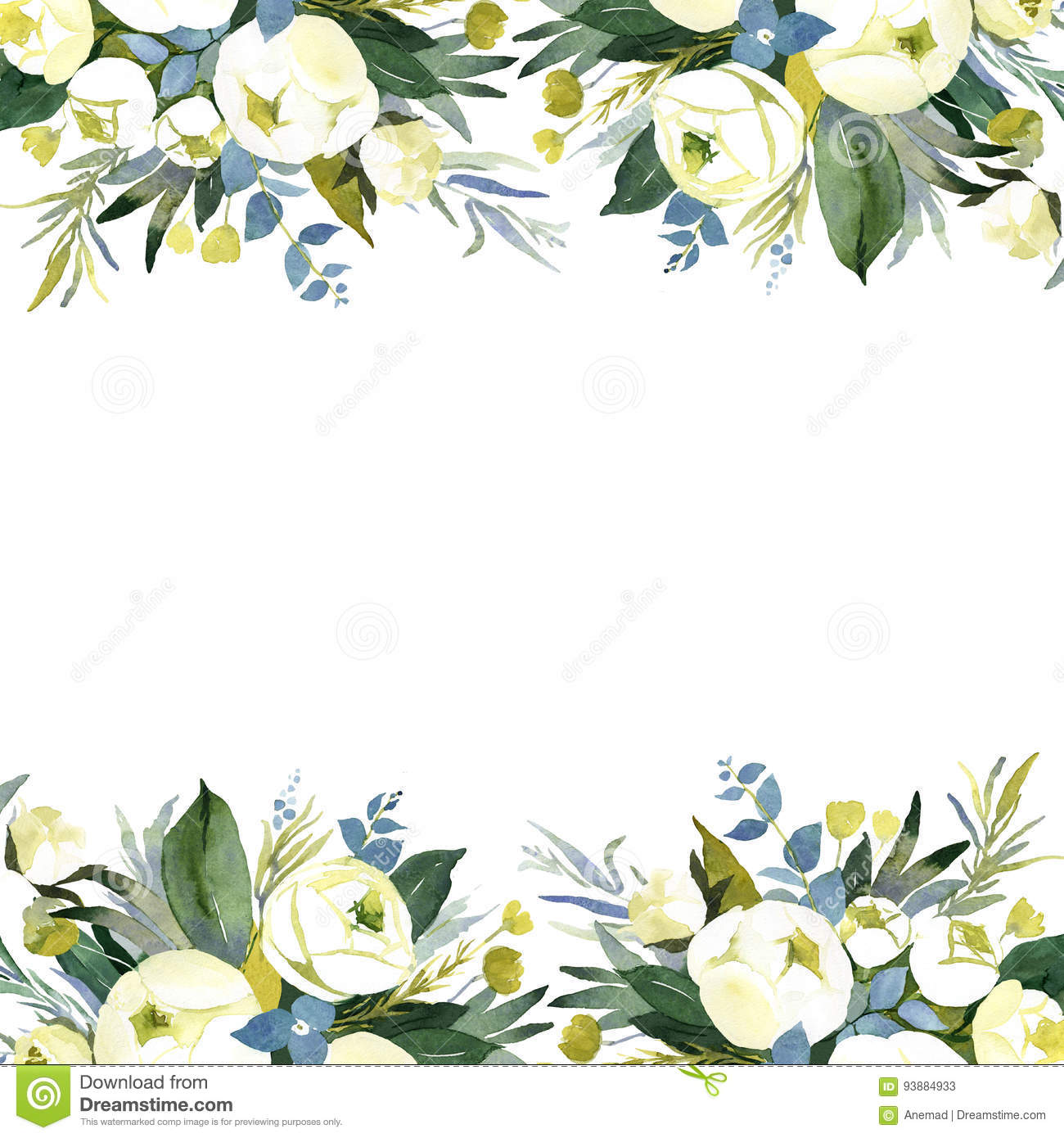 White Watercolor Flower Background For Wedding Stock