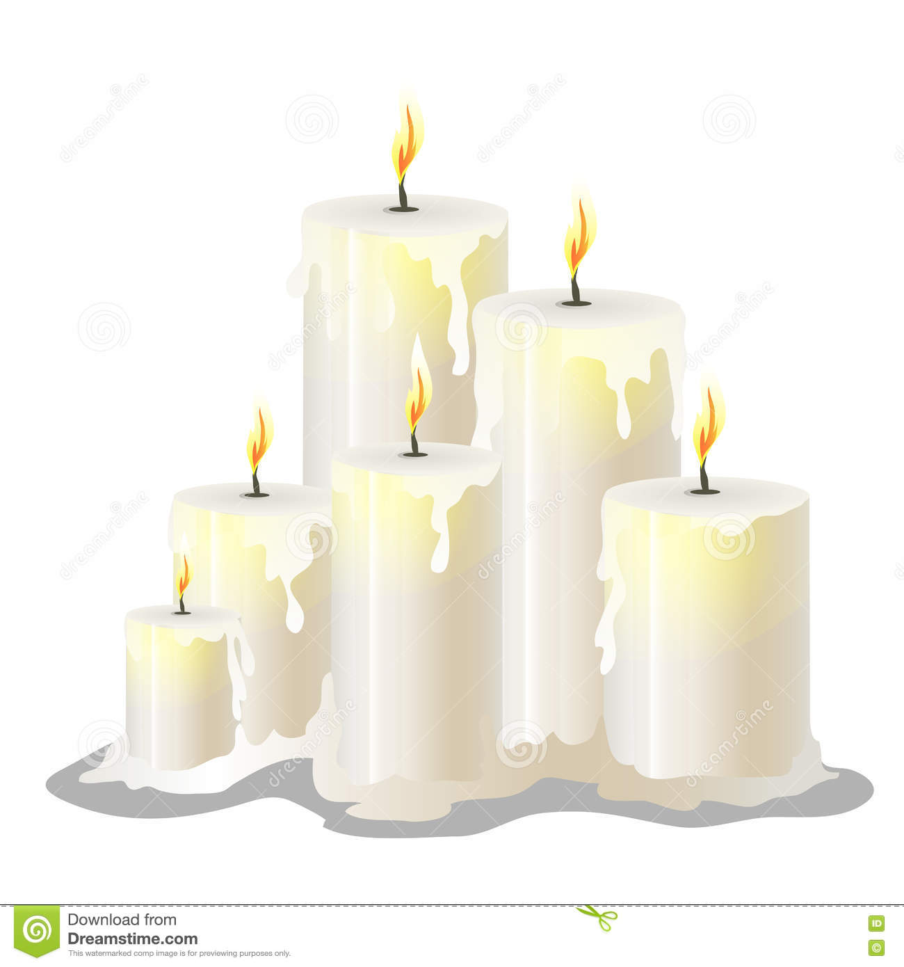 White Wax Cylindrical Candles With A Burning Wick Stock Vector - Image ...