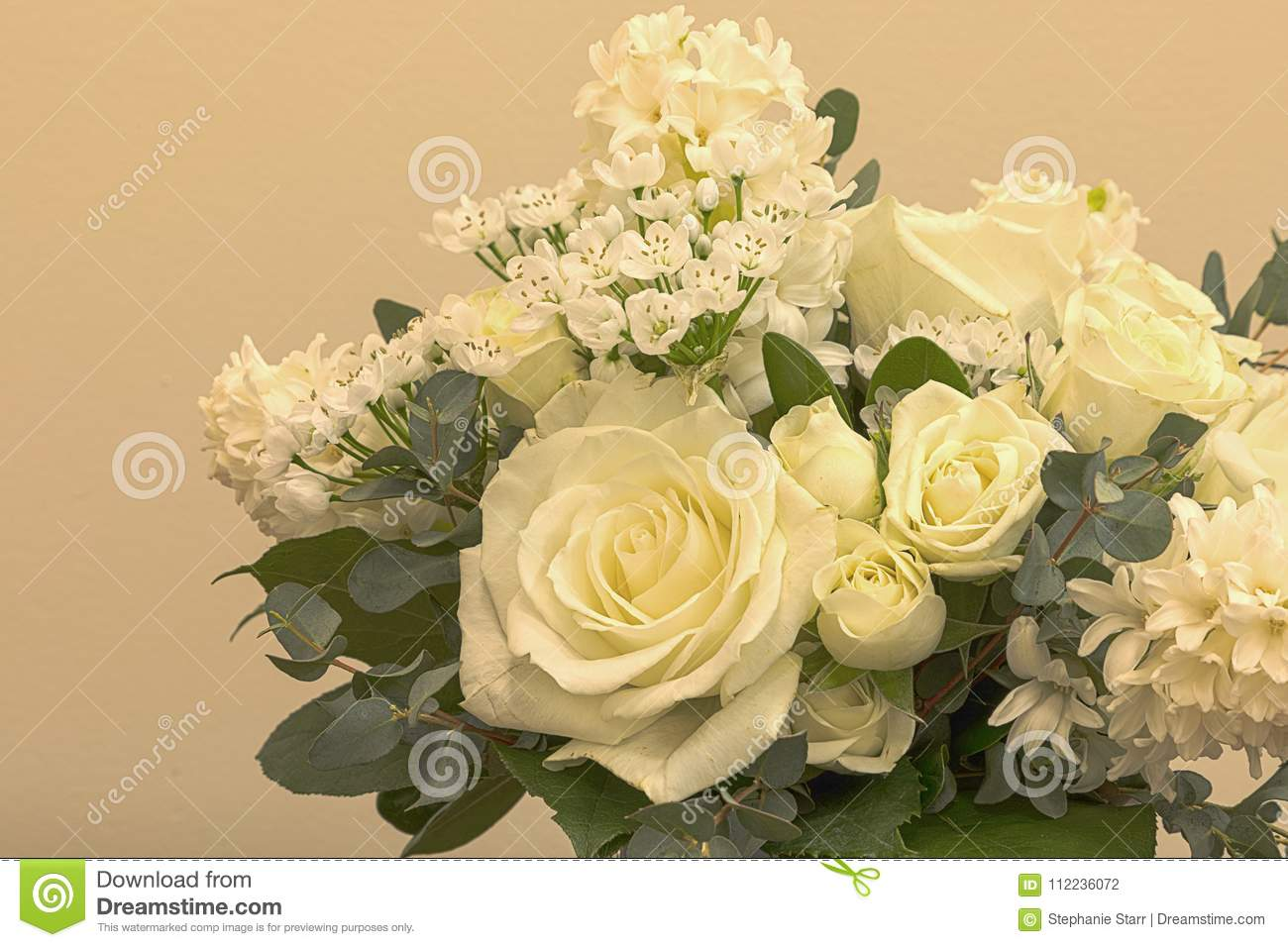White wedding bouquet of flowers including roses stock photo image download comp izmirmasajfo
