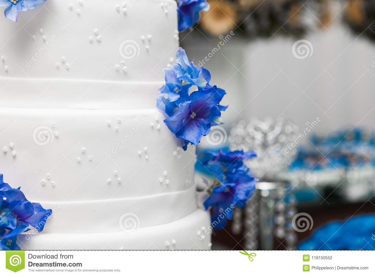 White wedding cake with blue flowers stock photo image of download white wedding cake with blue flowers stock photo image of decoration confectioned izmirmasajfo
