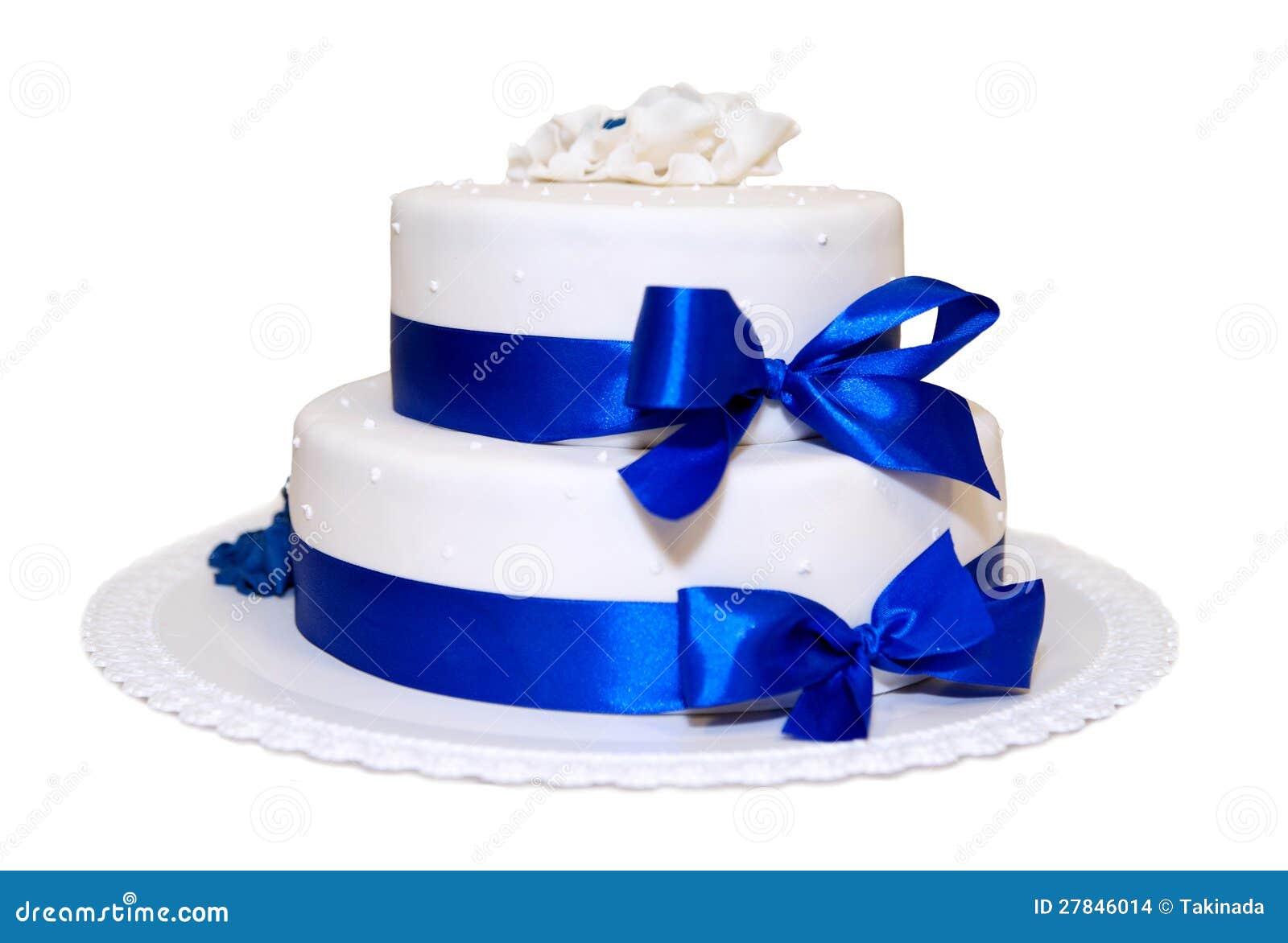 White Wedding Cake With Blue Ribbons Stock Photo Image Of Ribbon