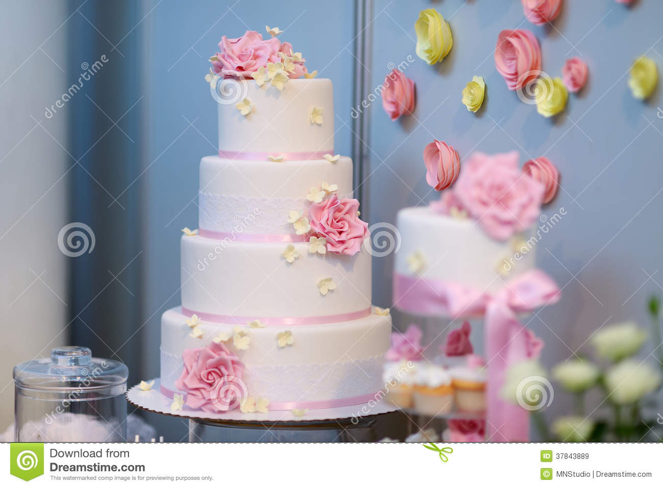 White wedding cake decorated with pink flowers stock image image white wedding cake decorated with pink flowers mightylinksfo