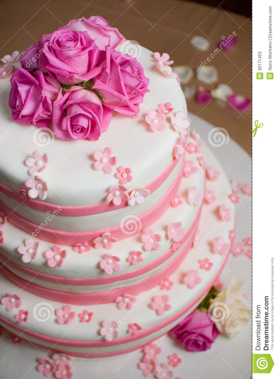 wedding cake decorated with roses stock photos   image