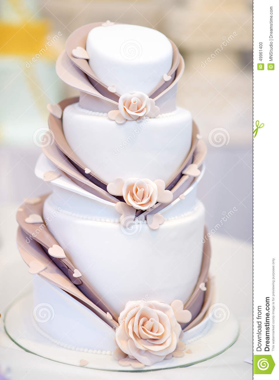 White Wedding Cake Decorated With Sugar Flowers Stock Photo - Image ...