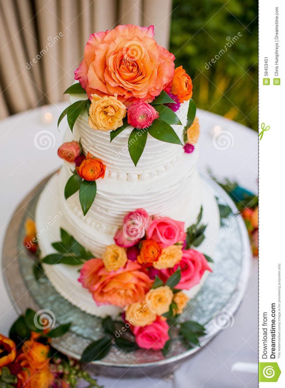 wedding cake with orange flowers wedding cake stock image image of celebration bridal 26931