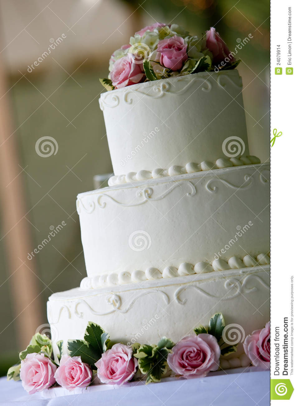 White Wedding Cake With Pink Flowers Stock Photo Image