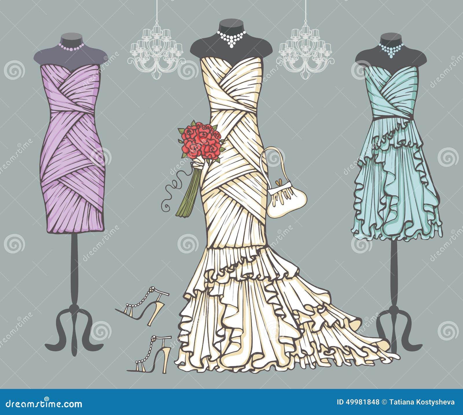 White Wedding Dress,bridesmaid Dresses.Bridal Set Stock Vector ...