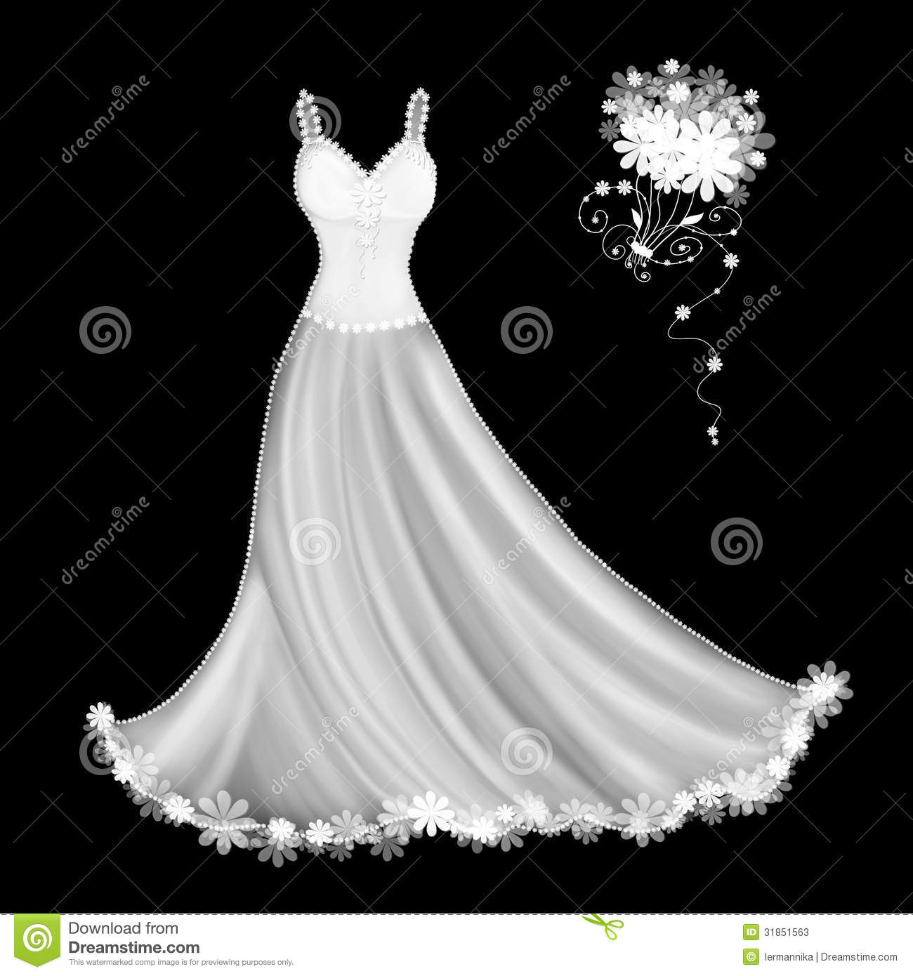Illustration drawing of a white wedding dress and bouquet