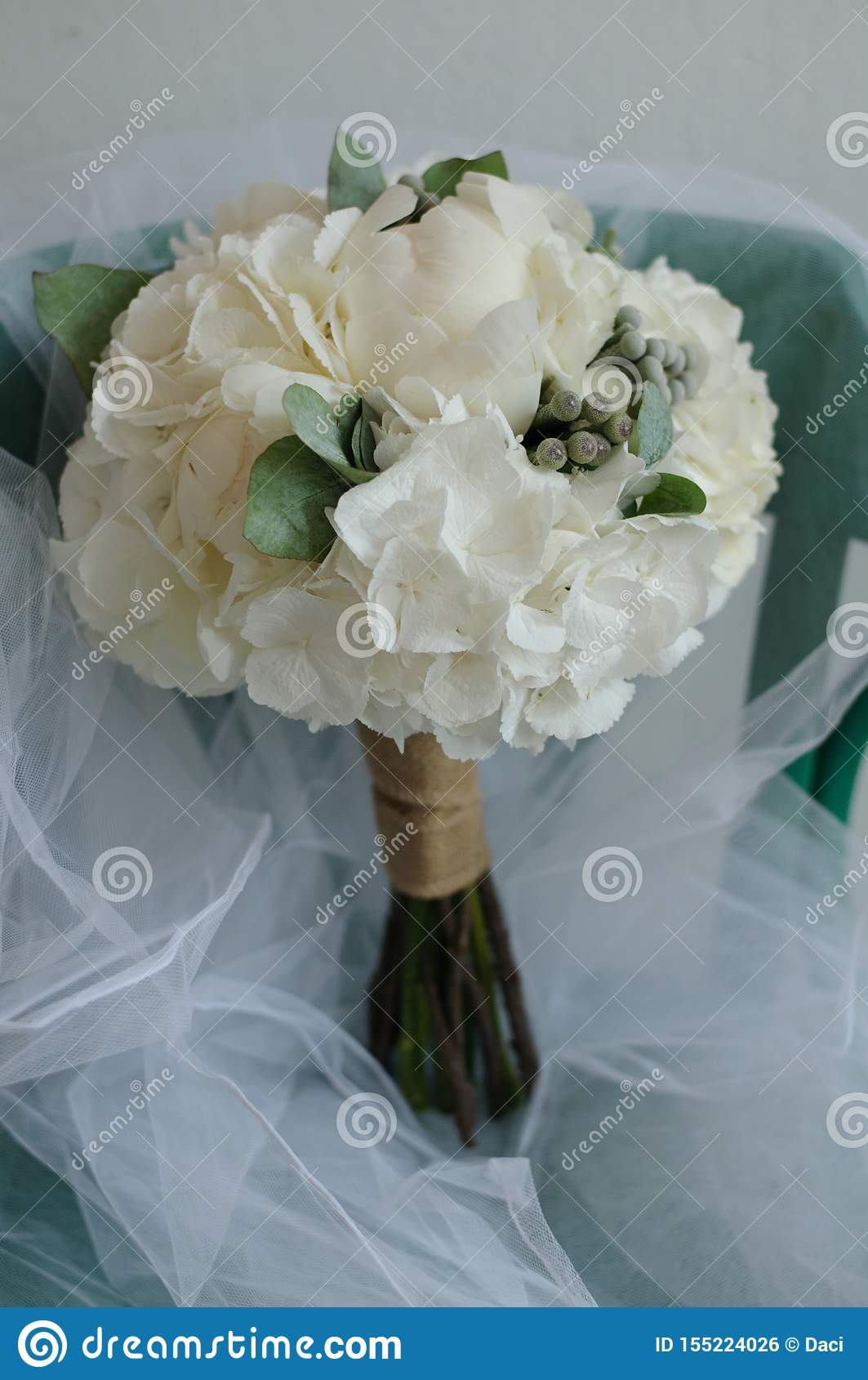 White Wedding Flower Bouquet Of White Hydrangea And Peonies Stock Photo Image Of Color Green 155224026