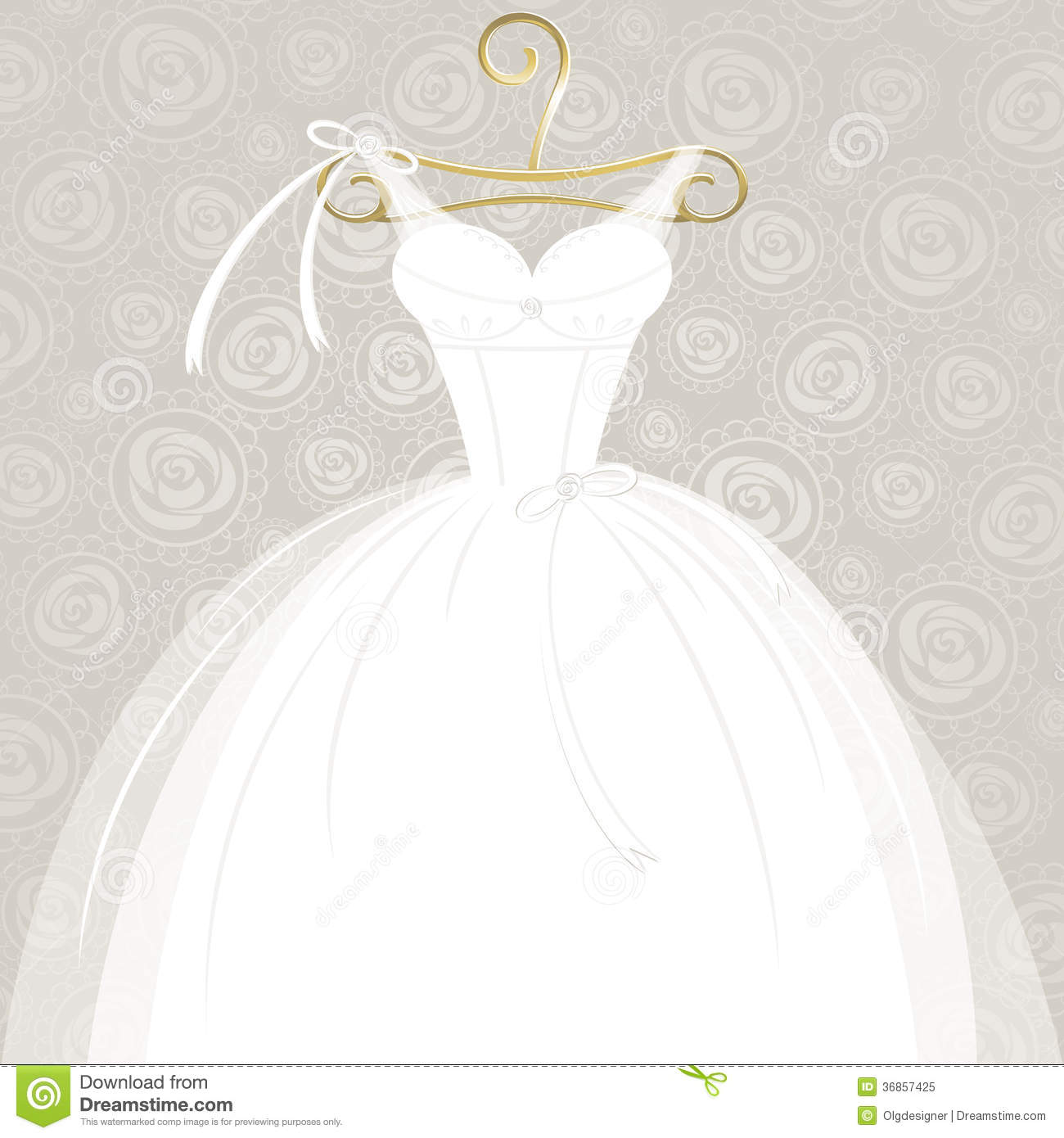 Wedding Gown Clip Art: White Wedding Gown Stock Vector. Illustration Of Album