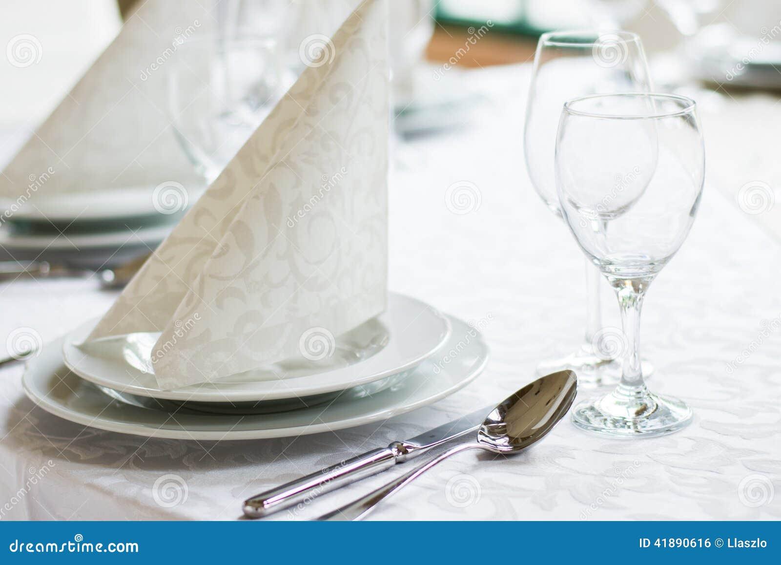 White Wedding Reception Place Setting Stock Photo Image Of
