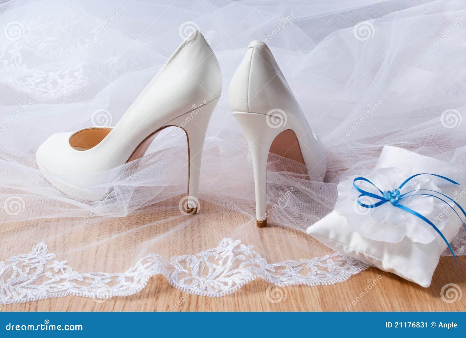 White wedding shoes.