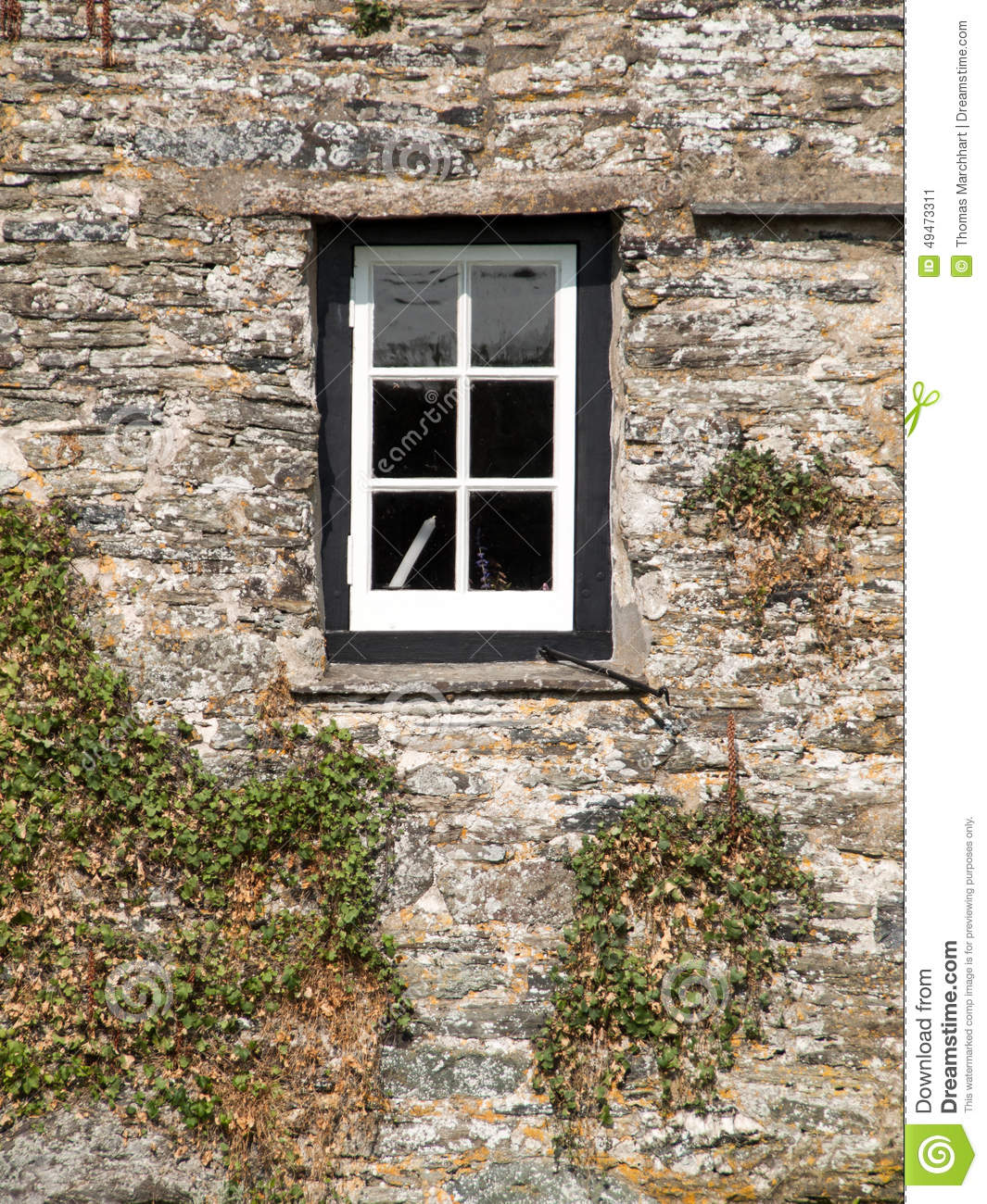 White Window In A Black Frame Stock Image - Image of stone, green ...