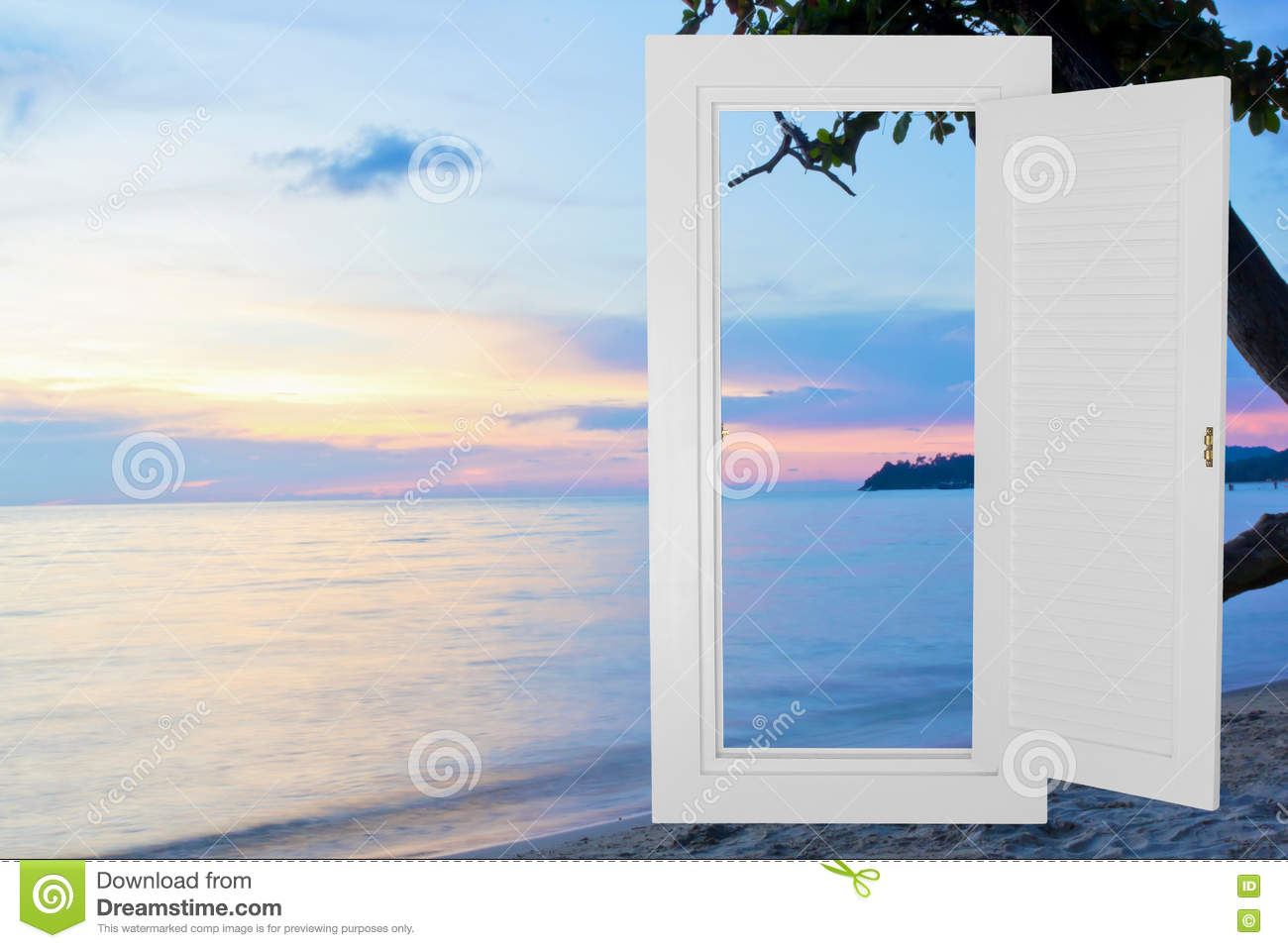 Open window beach - Royalty Free Stock Photo Download White Window Open Frame With Sunset Beach