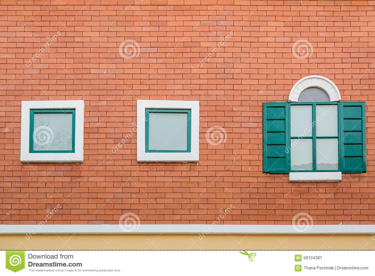 White Window On The Orange Brick Wall Stock Photo - Image: 58104381