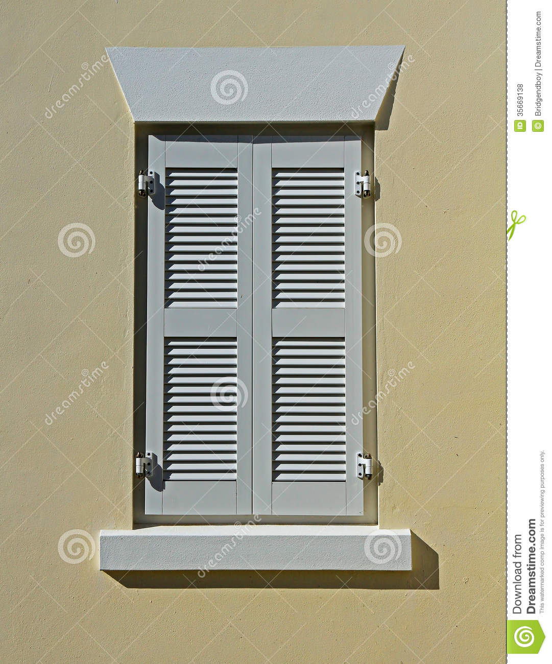 White Window Shutters On A Cream Wall Royalty Free Stock Photos Image 35669138
