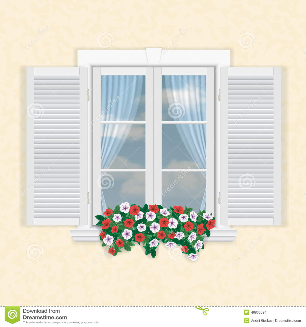 White Window With Shutters And Flowers Stock Vector