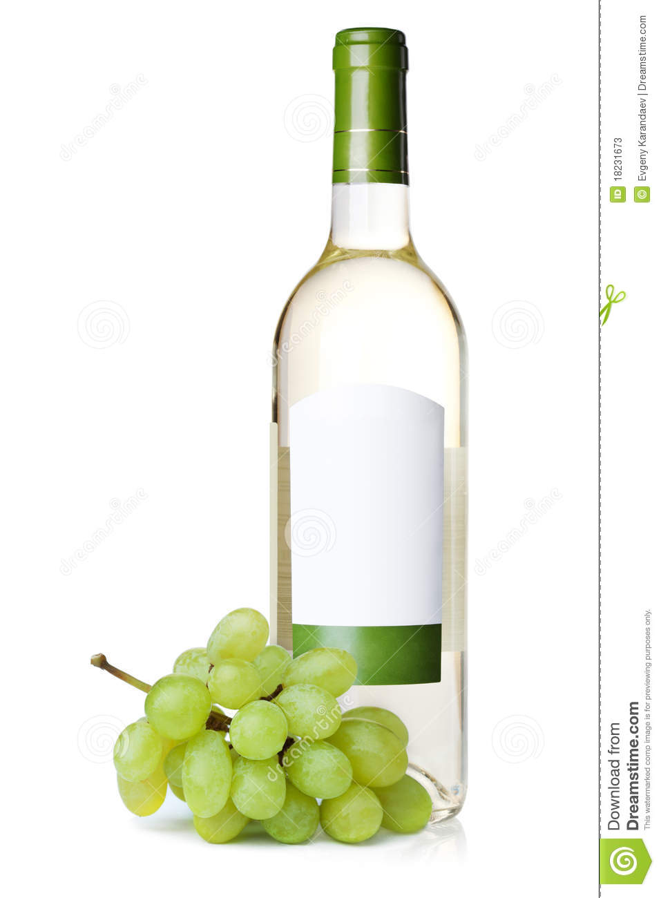 White wine in bottle with blank label and grapes. Isolated on white ...