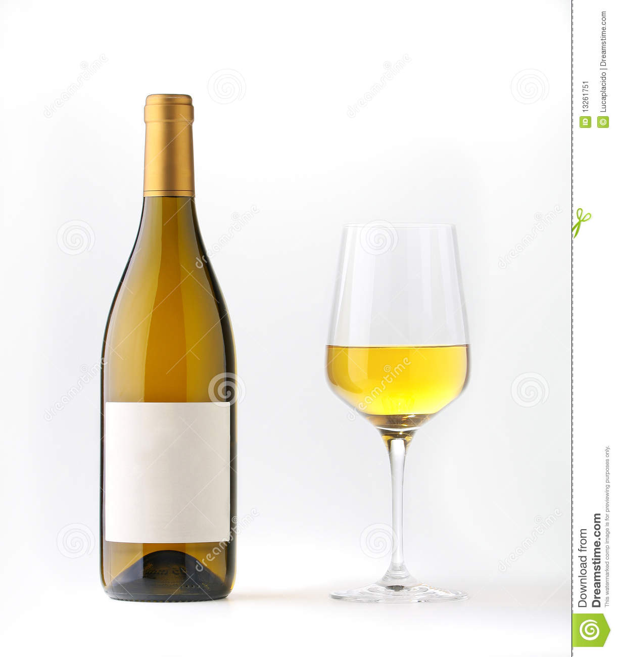 White wine bottle with blank label and a wine goblet - white backgroud ...
