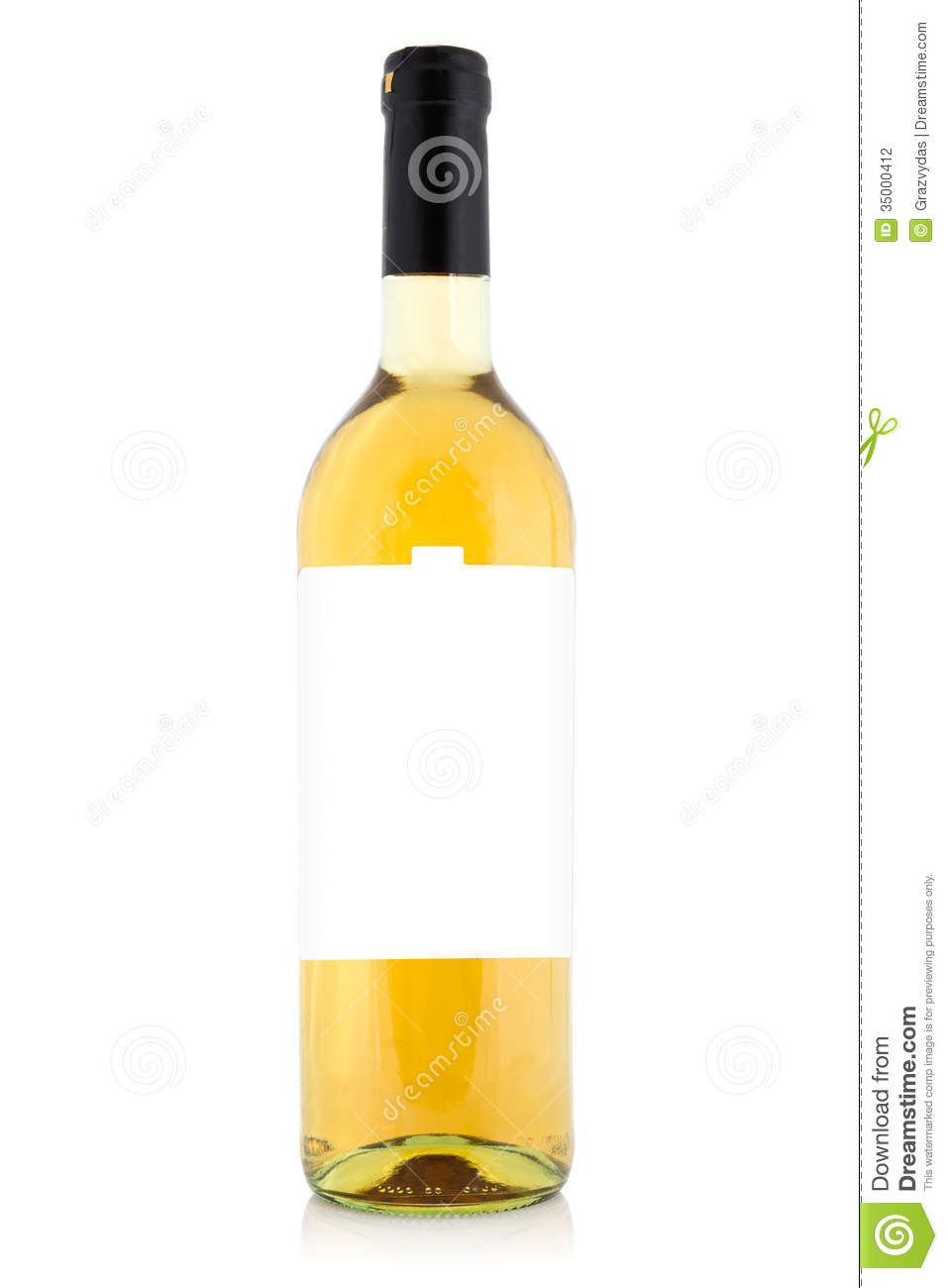 White Wine Bottle With Blank Label Stock Photography ...