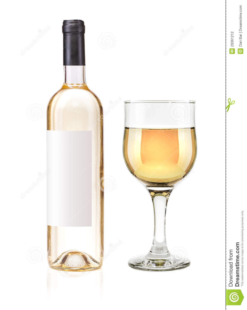 White wine bottle and glass stock photography image for Wine bottle glass