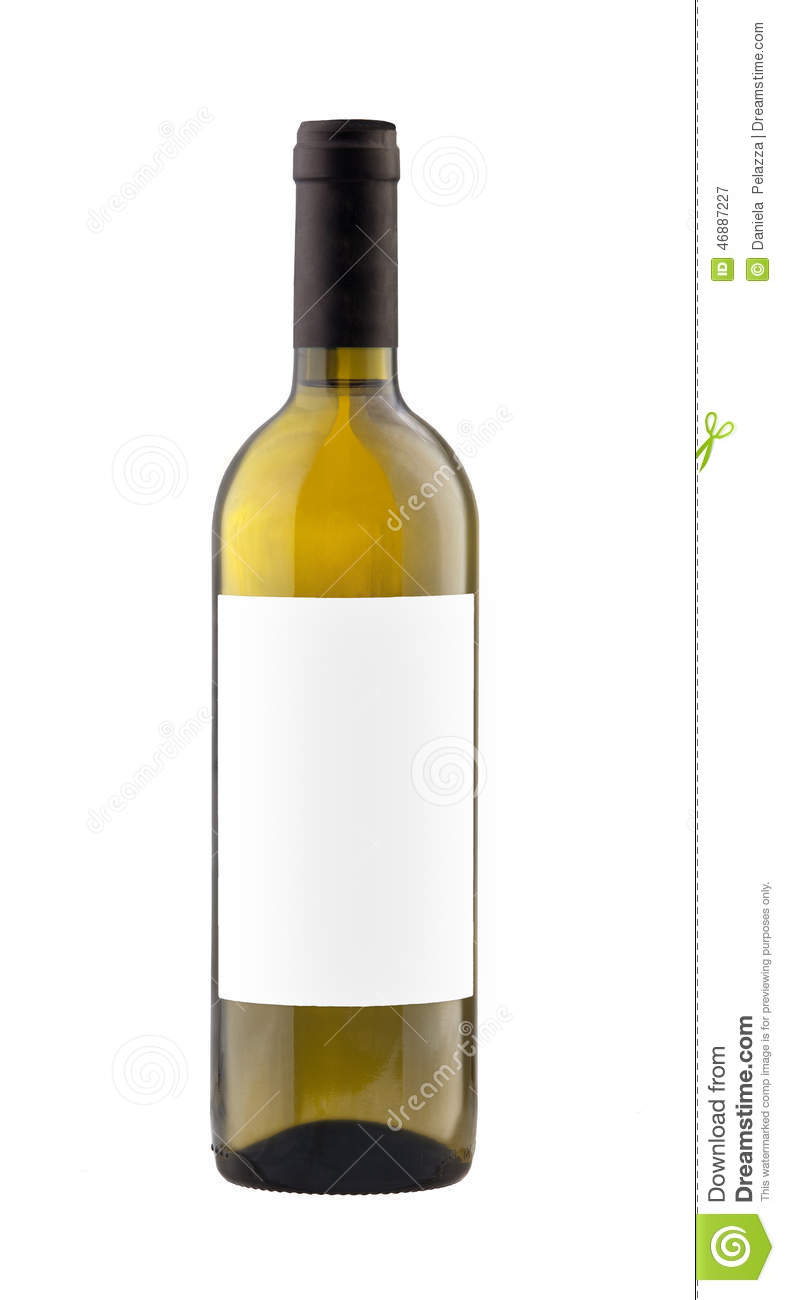White Wine Bottle Isolated With Blank Label. Stock Image ...