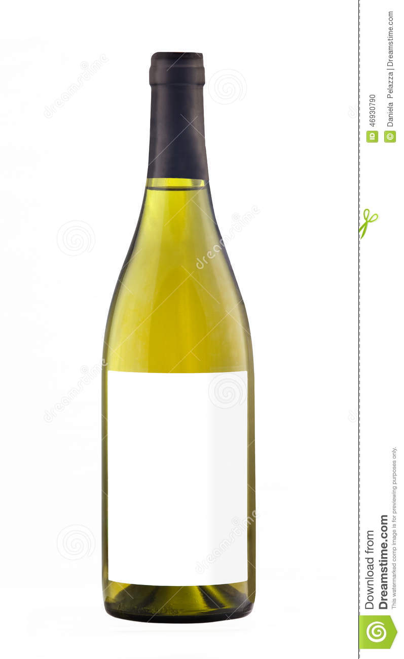 White Wine Bottle Isolated With Blank Label. Stock Photo ...