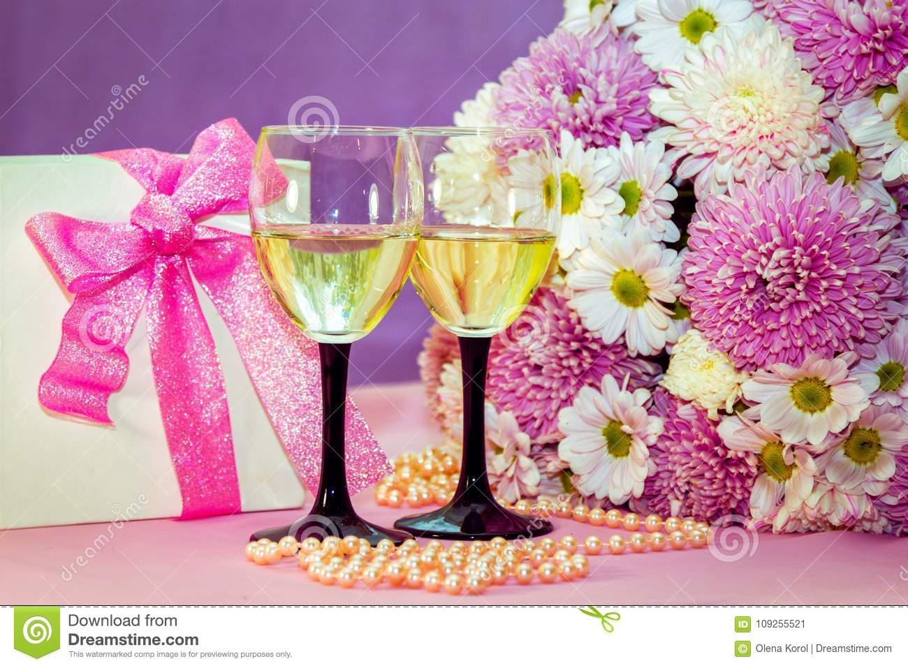 White wine or champagne in glasses present box and flowers stock download white wine or champagne in glasses present box and flowers stock image image mightylinksfo