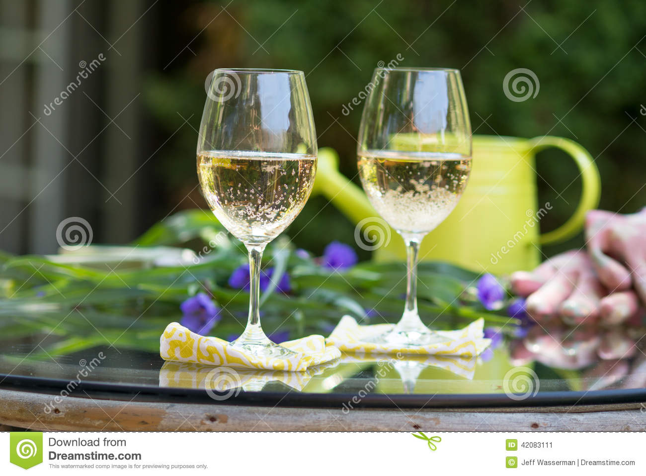 White wine in the garden for break time stock image image of glass of white wine set outdoors on glass table with flowers and other greenery as well as a watering can and gardening gloves for a break from gardening mightylinksfo
