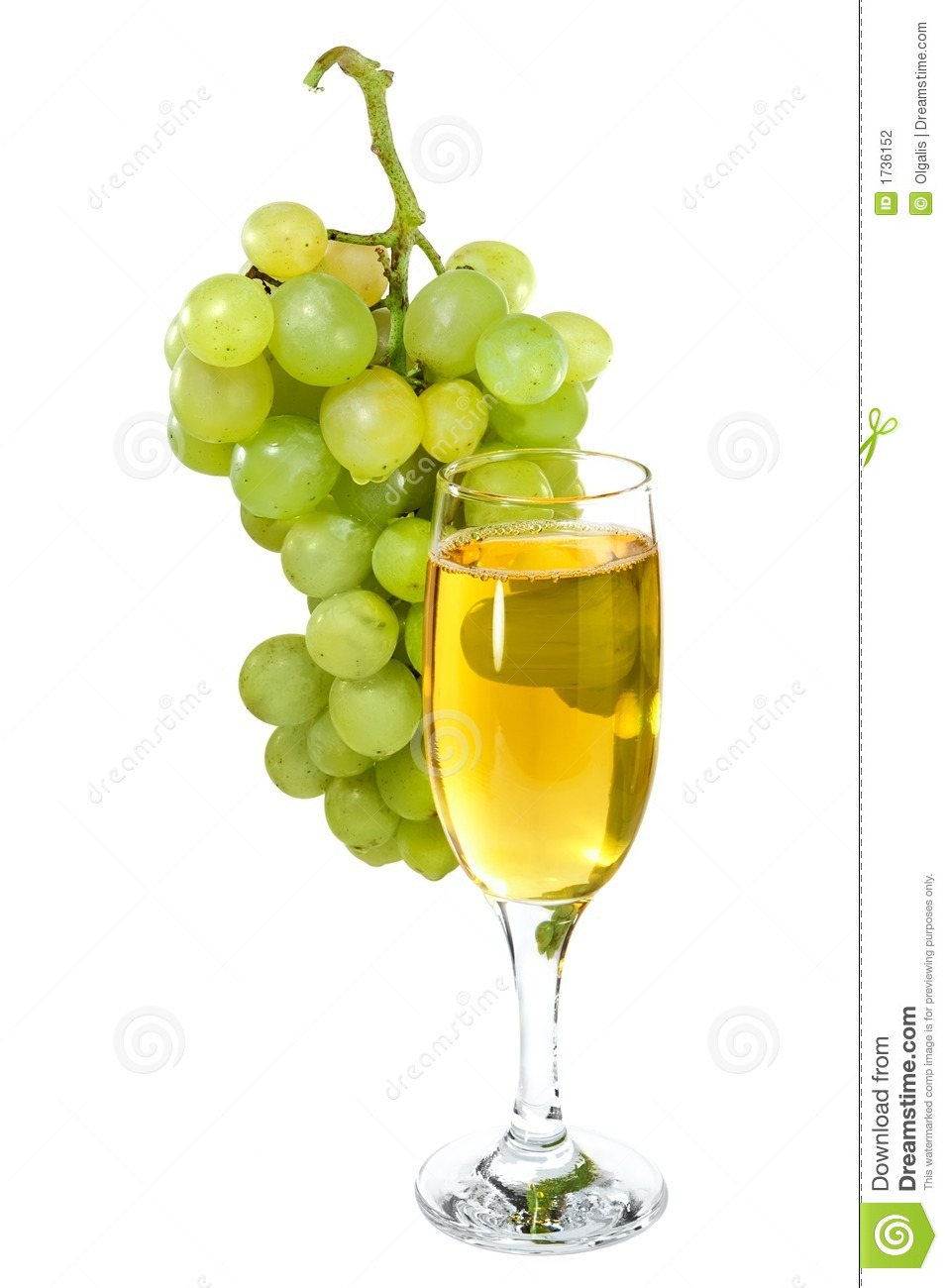 White Wine Glass On Background Of A Grape Stock Photography - Image ...