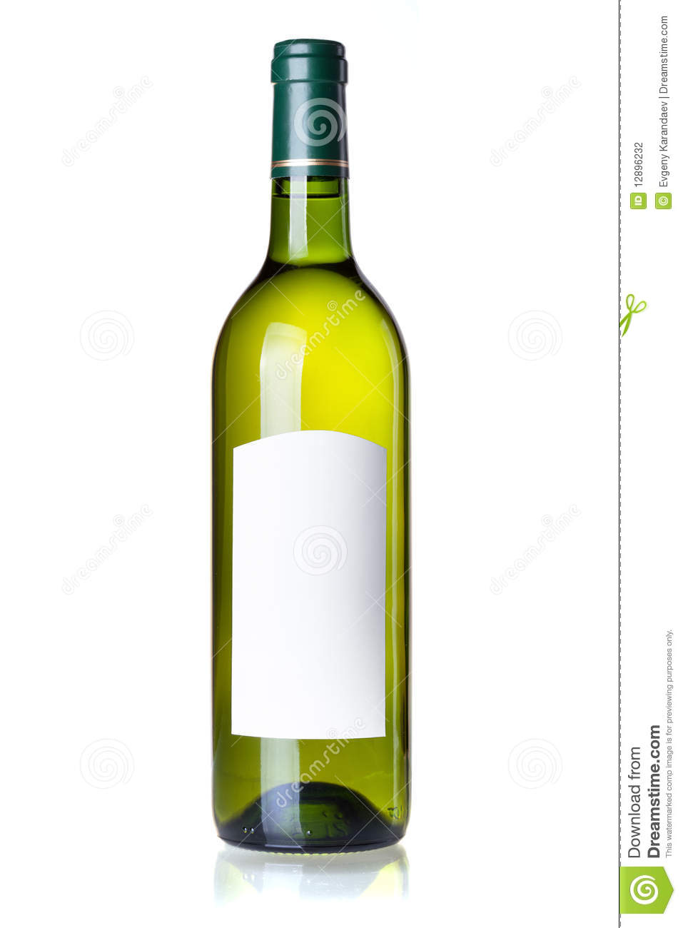 White wine in green bottle with blank label stock photo for Green wine bottles