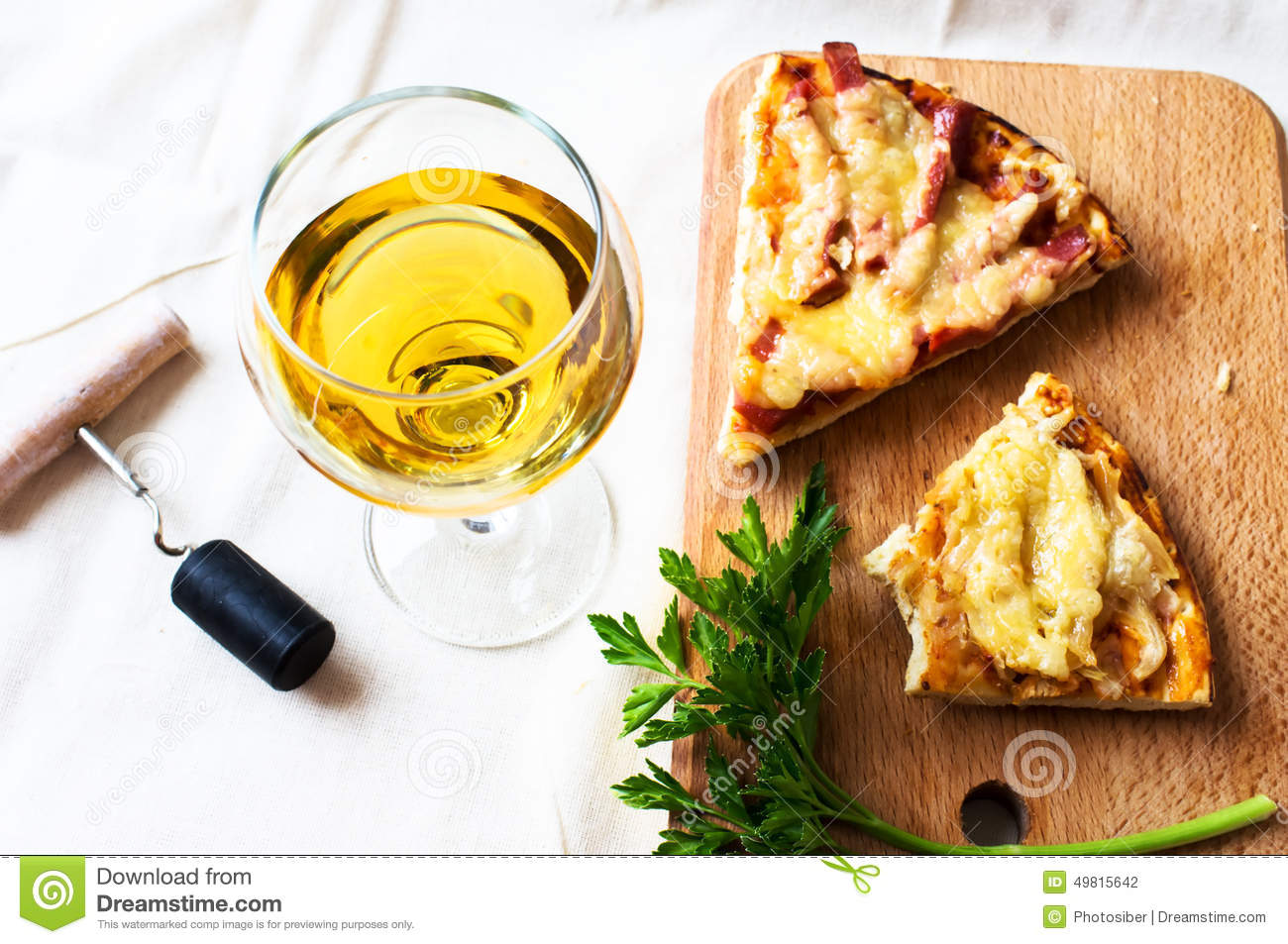 White Wine And Pizza Stock Photo Image Of Beverage Glass 49815642