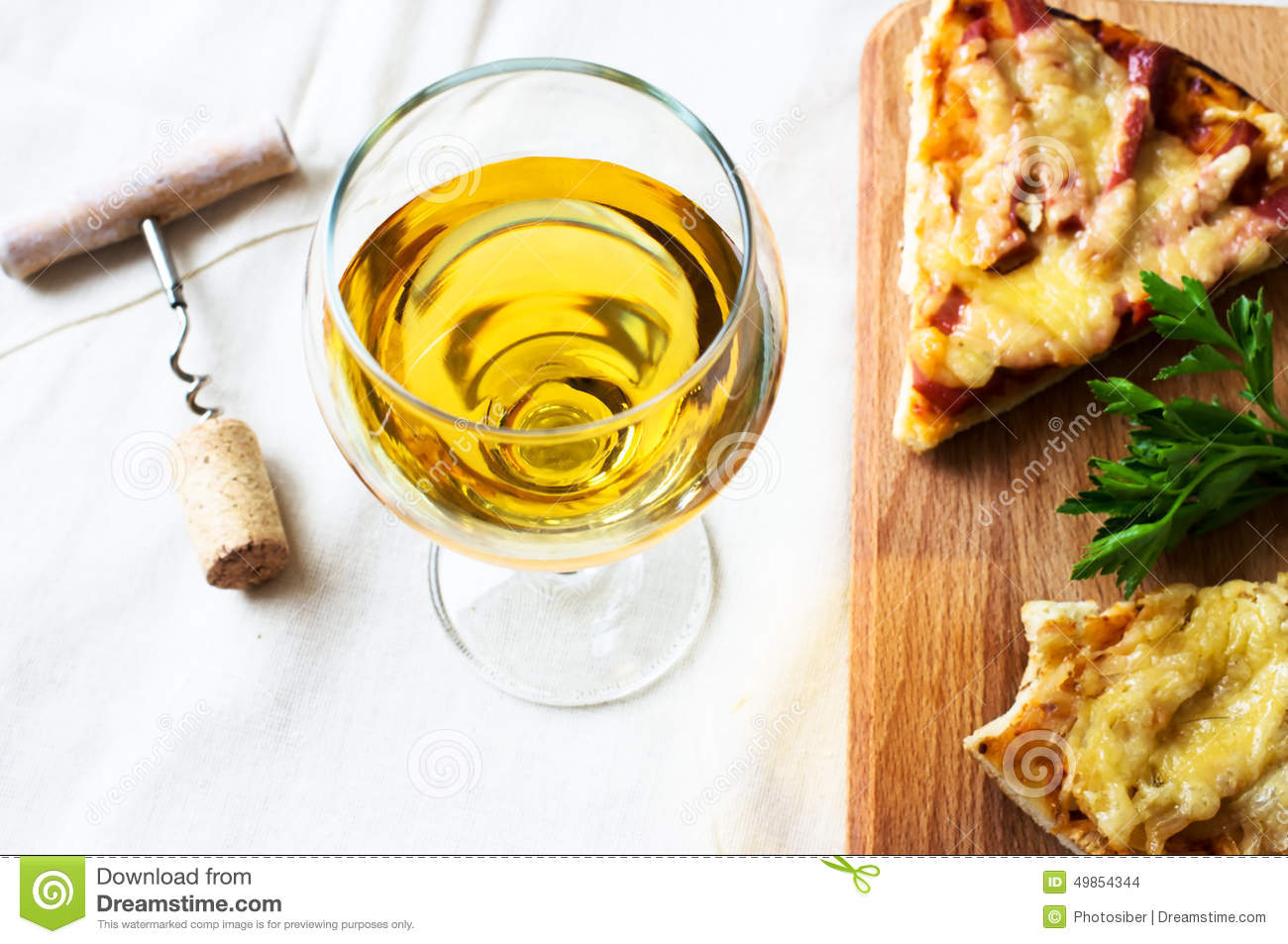 White Wine And Pizza Stock Photo Image Of Wine Glass 49854344