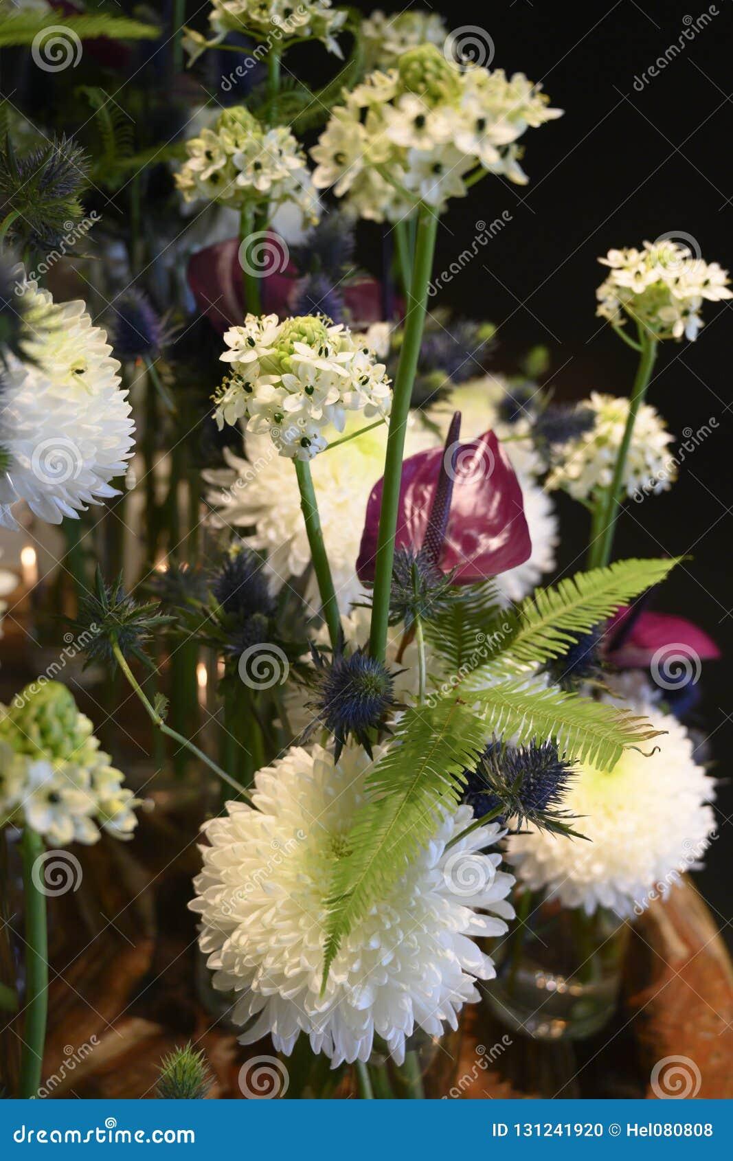 Extraordinary White Winter Flower Dream With Chrysanthemum Anturia Fern Thistle Beautiful Flower Arrangement Stock Photo Image Of Bunch Anturia 131241920