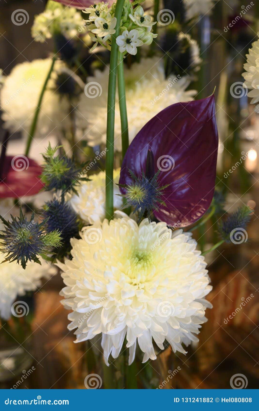 White Winter Flower Dream With Chrysanthemum Anturia Fern Thistle