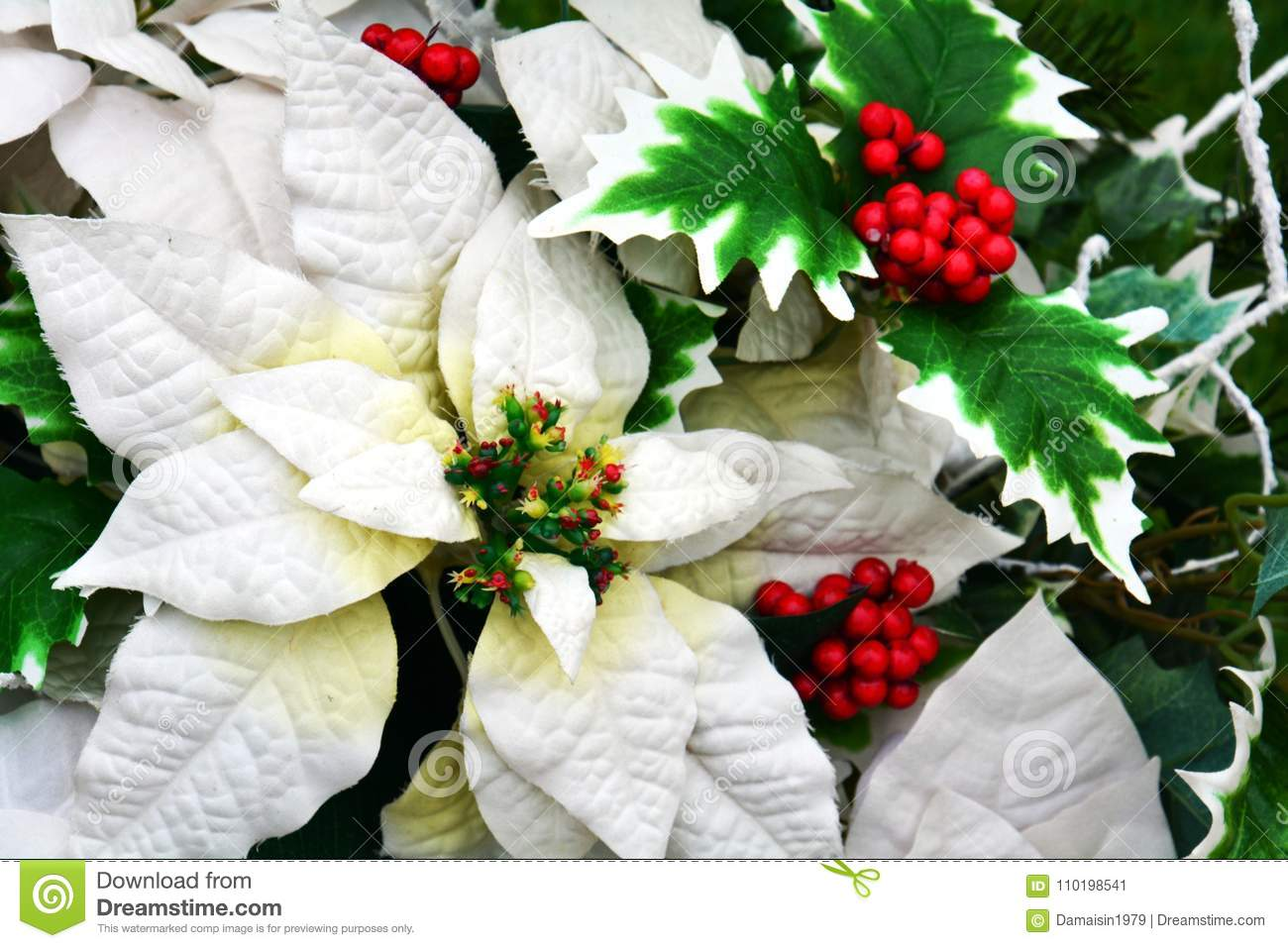 White Winter Flowers And Leaves Romantic Floral Background Stock