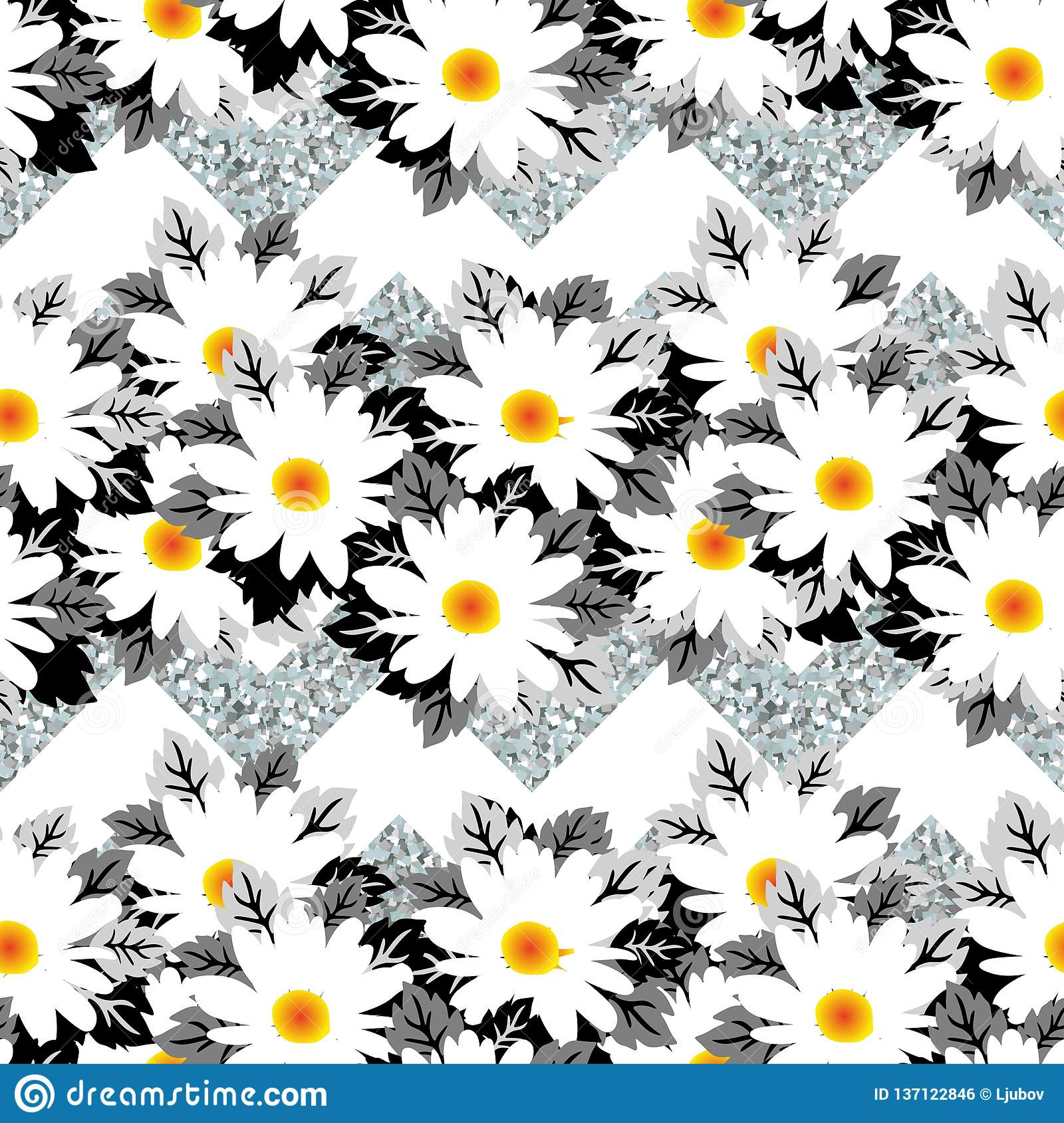 White winter flowers on silver frost background. Beautiful seamless pattern royalty free stock image