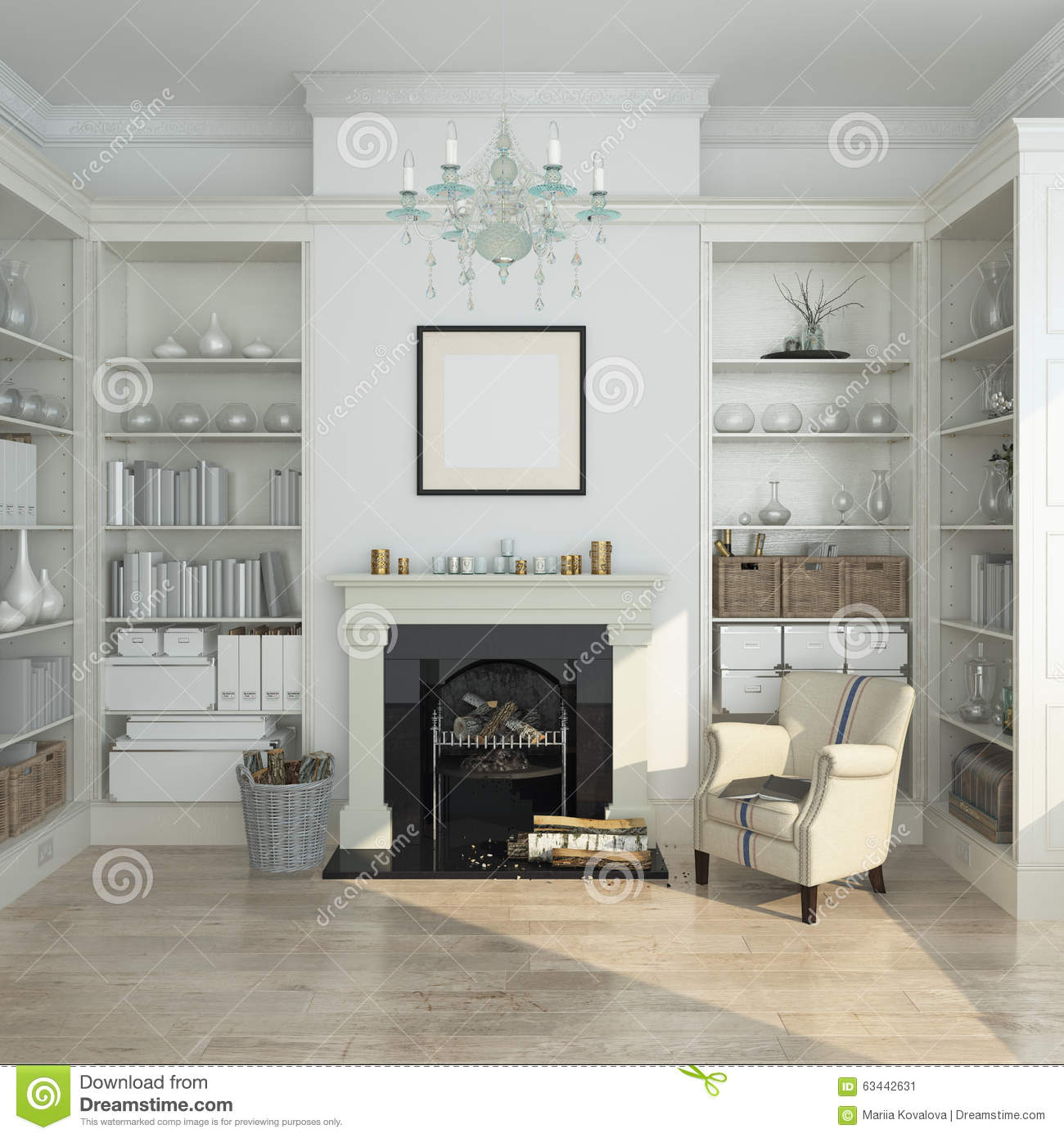 White Winter Interior,fireplace, Books. 3d Render