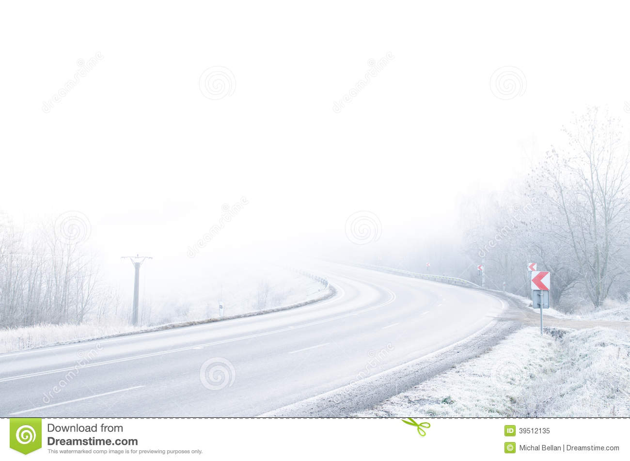 White winter road with snow and ice