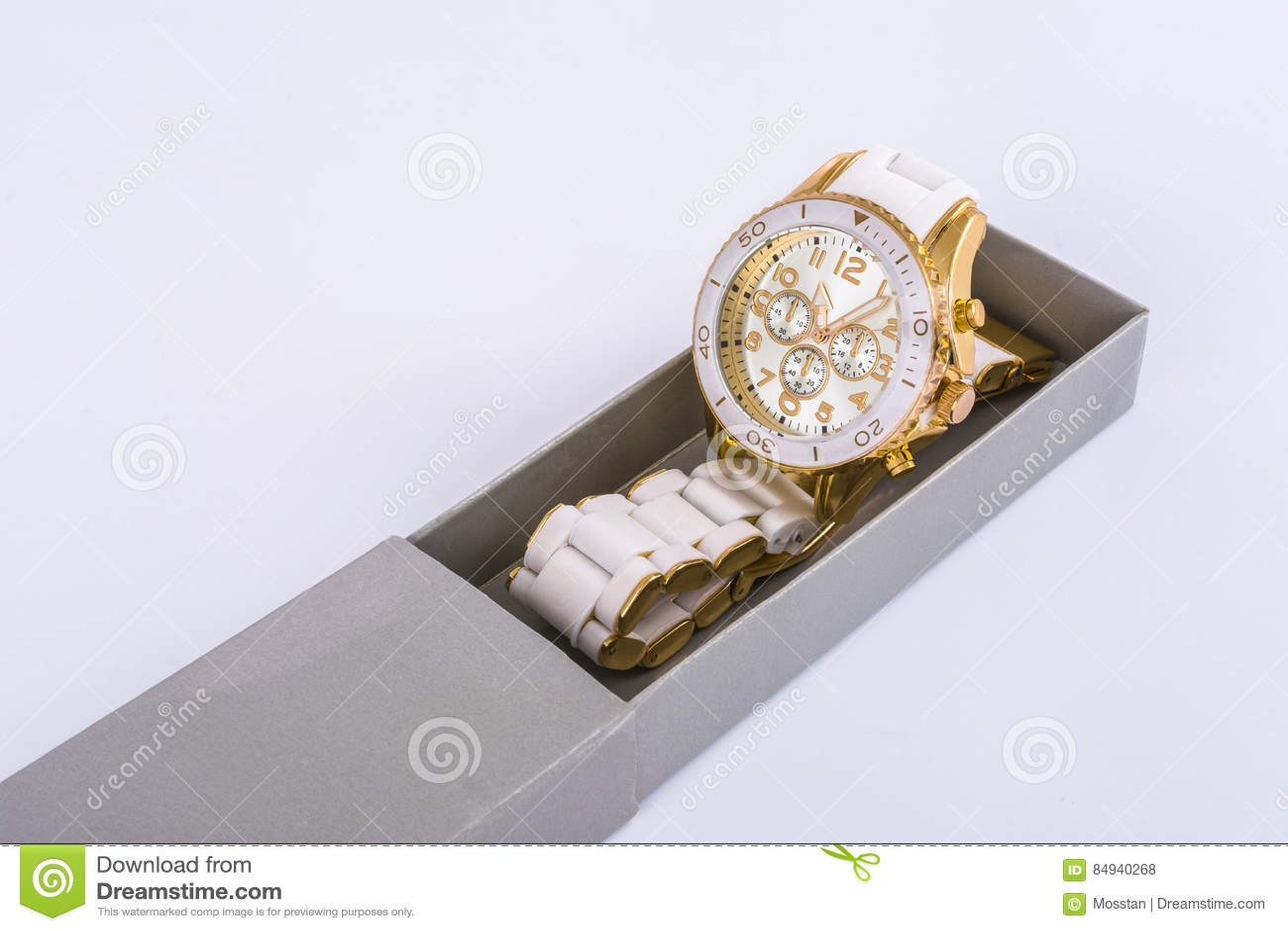 White women`s watches in the gray box
