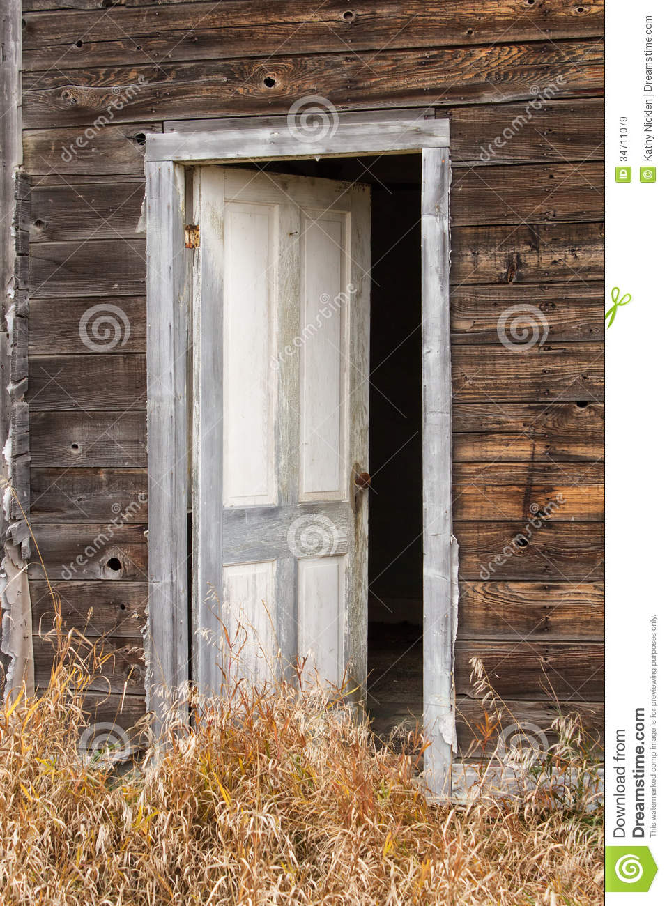 A White Wood Door Standing Ajar Stock Image Image Of