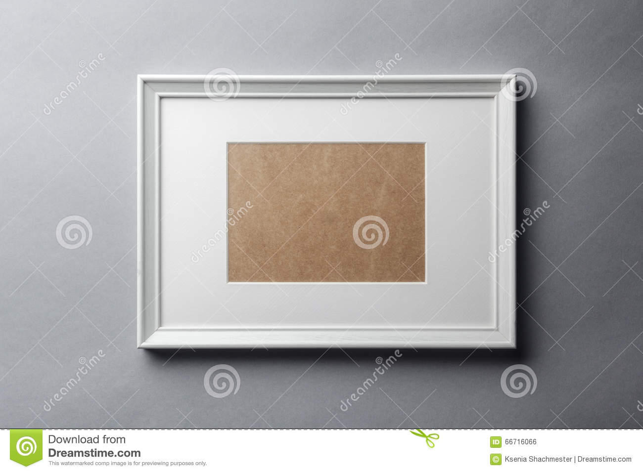 White Wood Frame On Grey Wall Stock Photo - Image of copy, space ...