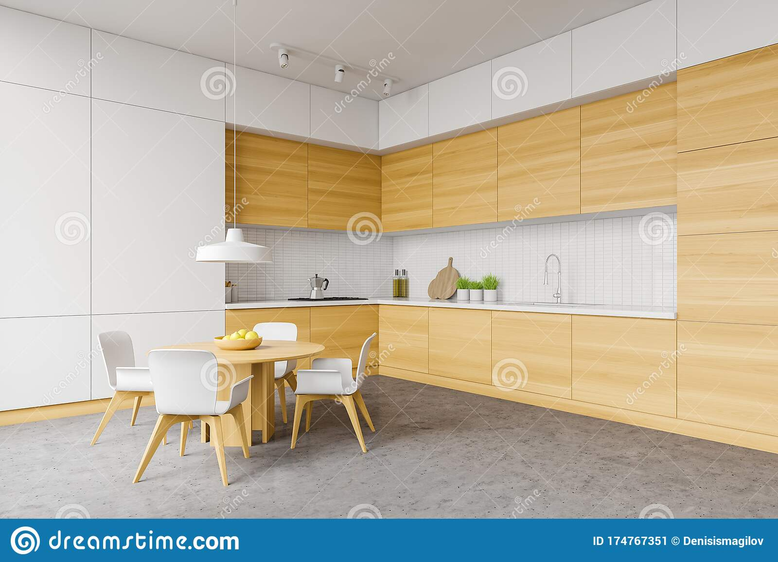 White And Wood Kitchen Corner Table And Counters Stock Illustration Illustration Of Interior Cabinet 174767351