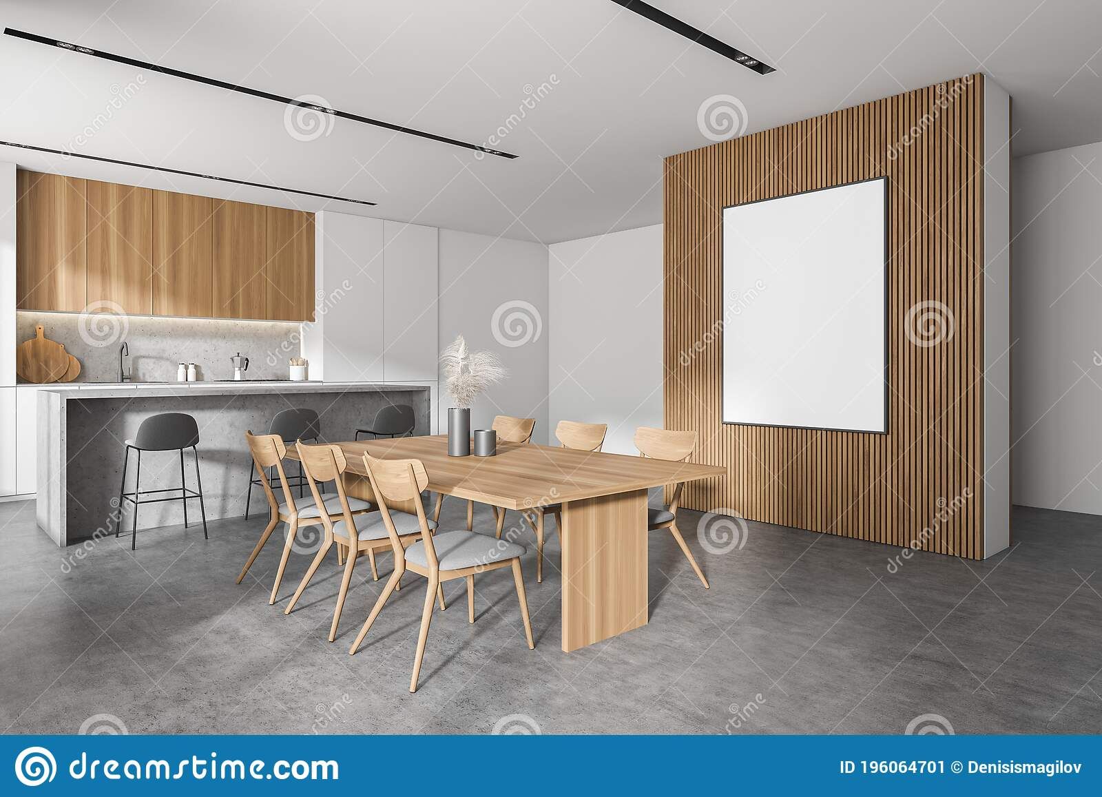 White And Wood Kitchen Corner Table And Poster Stock Illustration Illustration Of Expensive Dining 196064701