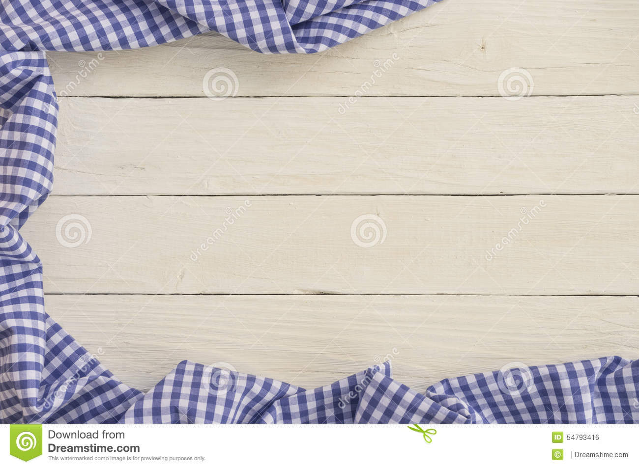 White Wooden Background With Blue Checkered Tablecloth