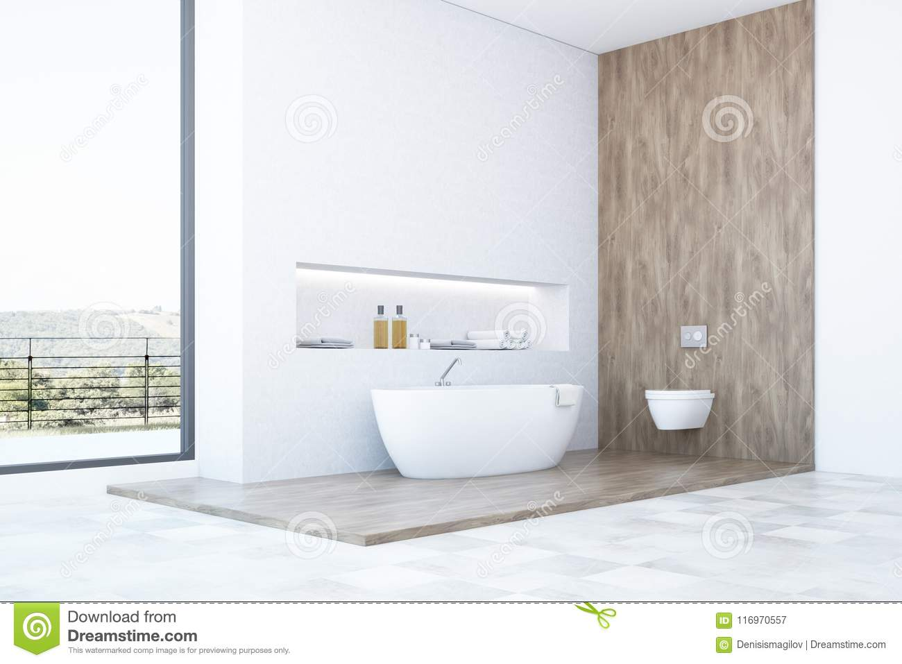 White And Wooden Bathroom Design Side View Stock Illustration ...