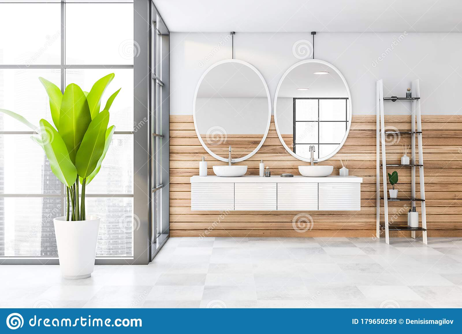 White And Wooden Bathroom Double Sink Stock Illustration Illustration Of Mirror Home 179650299